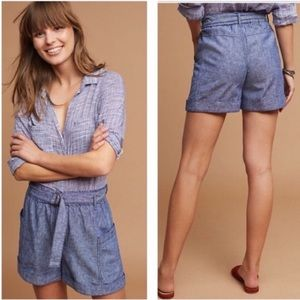 Anthropology | Chambrey linen Belted shorts